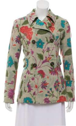 Etro Wool Blend Floral Peacoat