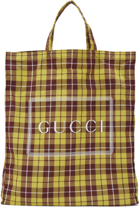 Gucci Yellow and Burgundy Medium Check Tote