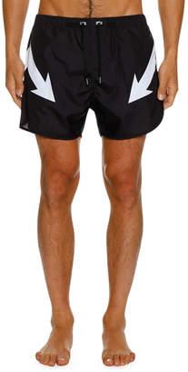 Neil Barrett Men's Mirrored Arrow Bolt Graphic Swim Shorts