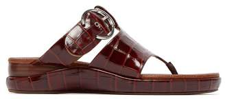 Chloé Crocodile Embossed Asymmetric Leather Sandals - Womens - Brown