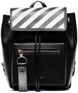 Off-White black zip-pocket mini leather backpack