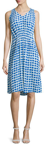 Kate Spade Kate Spade New York Sleeveless Abstract-Print Tie-Back Dress
