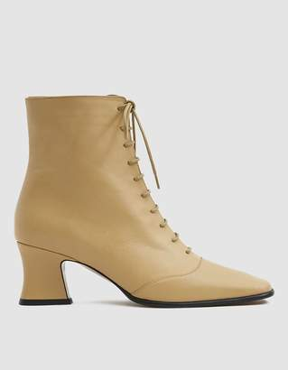 By Far Shoes Kate Ankle Boot in Cream Leather