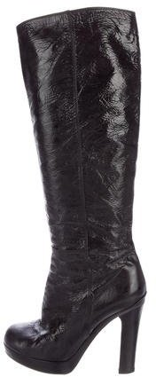 Saint LaurentYves Saint Laurent Crinkle Patent Leather Platform Boots
