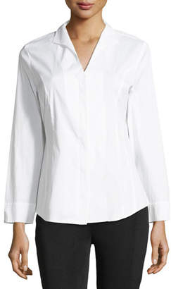 Misook Long-Sleeve Stretch-Cotton Shirt