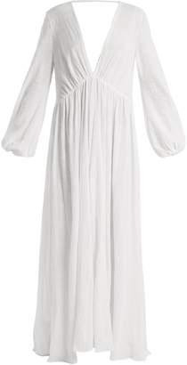 KALITA Aphrodite deep V-neck raw-cotton maxi dress
