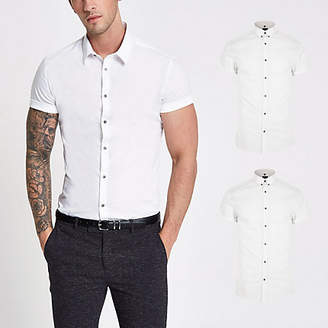 River Island White short sleeve muscle fit shirt 2 pack