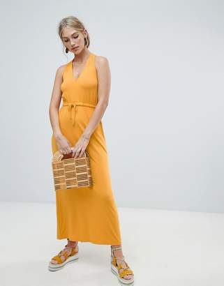 Warehouse midi dress with tie waist in yellow