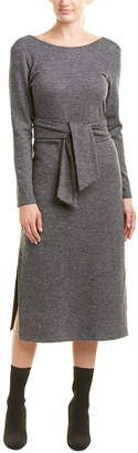 Maje Belted Wool-Blend Sweaterdress