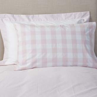 The White Company Gingham Classic Pillowcase, Chalk Pink, Cot Bed