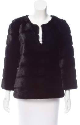 Trina Turk Faux Fur Long Sleeve Top