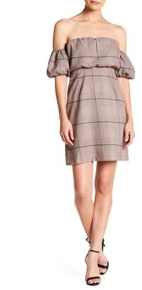 Honey Punch Checkered Print Off-The-Shoulder Dress