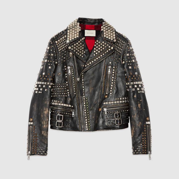 Studded leather biker jacket 3