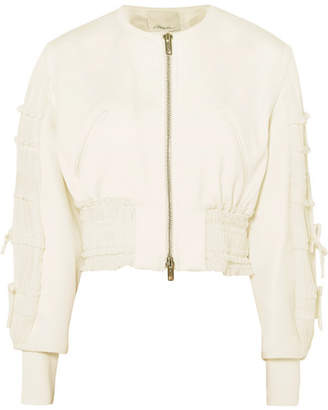 3.1 Phillip Lim Shirred Cropped Crepe Bomber Jacket - Ivory
