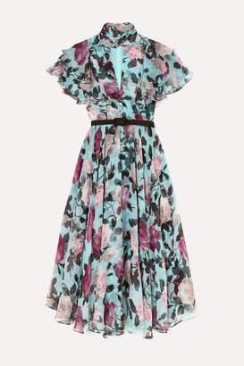 Erdem Guidita Ruffled Floral-print Silk-chiffon Midi Dress - Blue