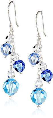 Swarovski Aqua Aurora Borealis Element with Accents on Sterling Silver Dangle Earrings