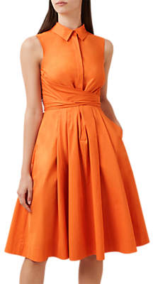 Hobbs Alesha Wrap Waist Dress, Mandarin Orange