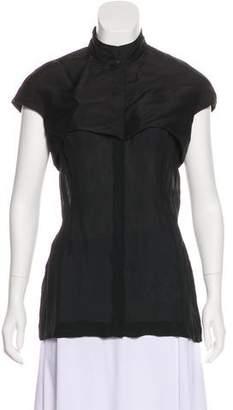 Cushnie et Ochs Silk-Blend Short Sleeve Top