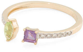 Made In Spain 14k Gold Diamond Peridot And Amethyst Ring