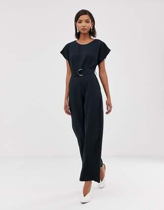 Closet London wide leg jumpsuit with buckle belt detail in navy