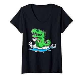 Pool' Womens Birthday Swimming Pool Party Dinosaur Swim V-Neck T-Shirt