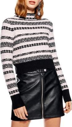 Topshop Fair Isle Crop Sweater
