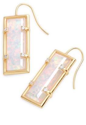 Kendra Scott Knox Bezel Set Kyocera Opal & CZ Drop Earrings