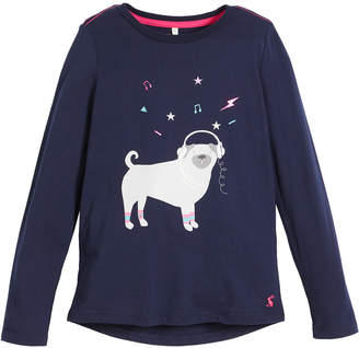 Joules Long-Sleeve Jammin' Pug Dog Graphic Tee, Size 3-10