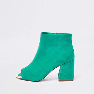 River Island Dark green peep toe shoe boots