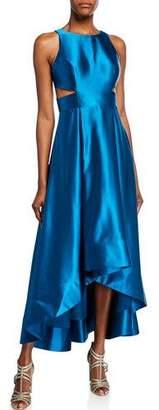 Aidan Mattox Liquid Satin Sleeveless High-Low Cocktail Dress