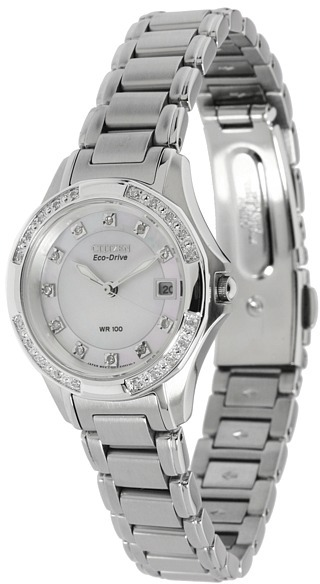 Citizen Watches - EW2130-51D (Stainless Steel/Diamonds/Mother of Pearl) - Jewelry