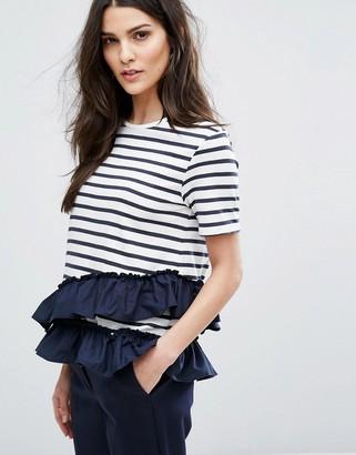 Warehouse Stripe Ruffle T-Shirt $27 thestylecure.com