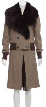 RED Valentino Fox Fur-Trimmed Wool Skirt Suit