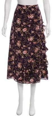 Rochas Ruffle-Trimmed Floral Print Skirt
