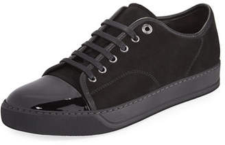 Lanvin Men's Suede & Patent Leather Low-Top Sneakers