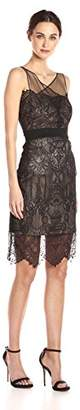 Vera Wang Women's Sleeveless Lace Cocktail Dress with Illusion Neckline, Black/Pink