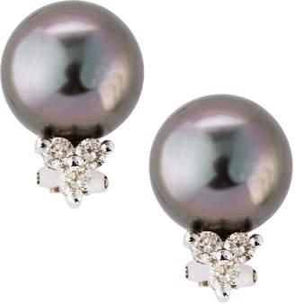 Belpearl Diamond Cluster Tahitian Pearl Earrings