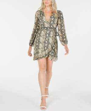 Leyden Long-Sleeve Snake Printed Wrap Dress