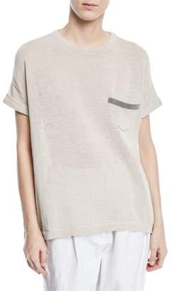 Brunello Cucinelli Crewneck Short-Sleeve Cotton T-Shirt with Monili Pocket