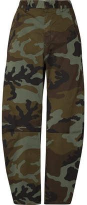 Nili Lotan Emerson Camouflage-print Stretch-cotton Wide-leg Pants - Green