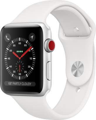 Apple AppleWatch Series3 GPS+Cellular, 42mm Silver Aluminum Case with White Sport Band