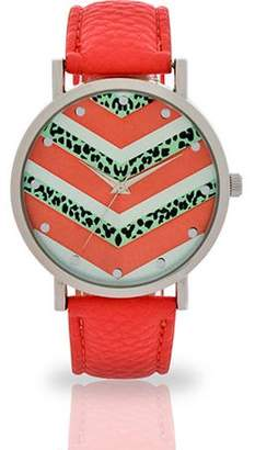 ACCUTIME WATCH CORP Women's Coral Chevron Face Watch, Faux Leather Band
