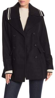 BCBGeneration Stripe Ribbed Knit Wool Blend Coat