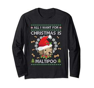 Maltipoo Ugly Sweater Christmas Long Sleeve Shirt