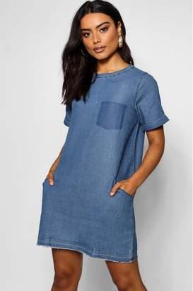 boohoo Womens Slouch Pocket Denim Dress - Blue
