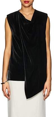 Derek Lam Women's Cowlneck Draped Velvet Sleeveless Top - Black