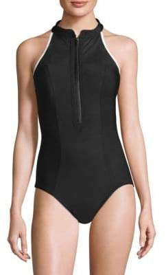 Miraclesuit Swim MSP Swim Finish Line Zip One-Piece Swimsuit