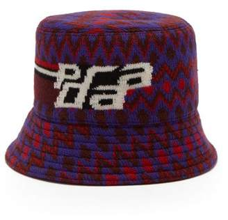 Prada Logo Intarsia Wool Blend Bucket Hat - Womens - Red