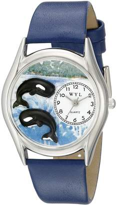 Whimsical Watches Women's S0140001 Whales Royal Blue Leather Watch