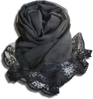 HERRICO Women Fashion Accessories Long Scarf Lace Pure Colour Shawl